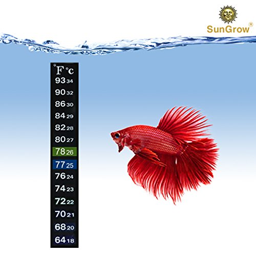 Aquarium Sticker Thermometer --- Precise Measurement of Tank's Temperature - Ideal for Fish, Shrimps & Turtles - Ensures pet health, Increases Lifespan - Peel & Stick Installation - 2 Color Indicators
