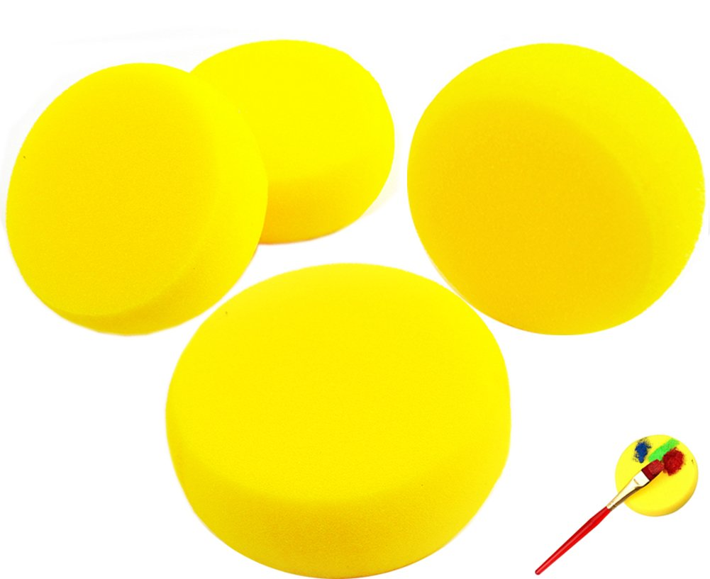 Watercolor Artist Sponges Round Face Painting Sponges Pack of 10 from Ocharzy (Yellow) OCH96