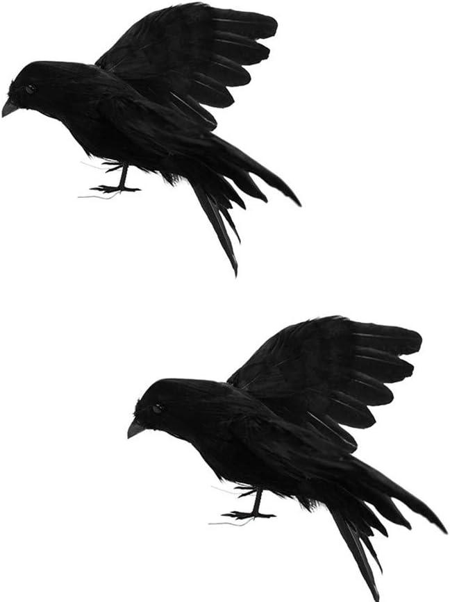 Baisong 2 Pack Artificial Crows Realistic Bird Halloween Decor Fake Raven Home Decor Prop