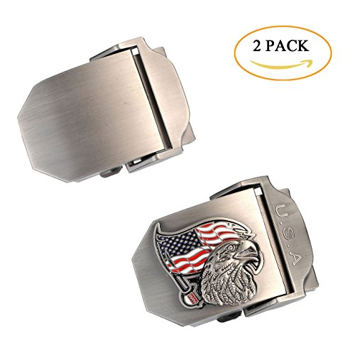 Faleto Mens Customized Belt Buckles Military Automatic Adjustable Metal Buckle (12-Solid & Eagle)