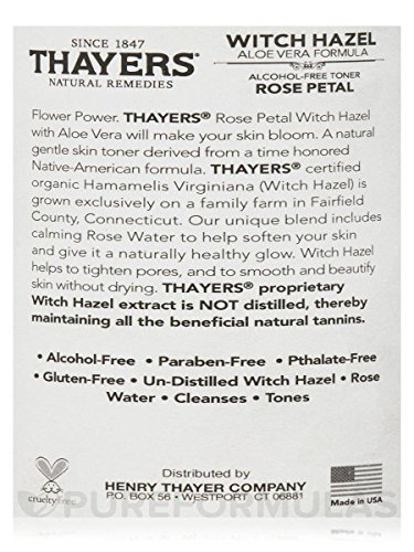 Thayers Alcohol-Free Rose Petal Witch Hazel Toner with Aloe Vera Formula-12 Oz