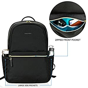 KROSER Laptop Backpack 15.6 Inch Fashion School Backpack Water-Repellent Computer Backpack Laptop Bag Nylon Casual Daypack with USB Port for Travel/Business/College/Women/Men-Black
