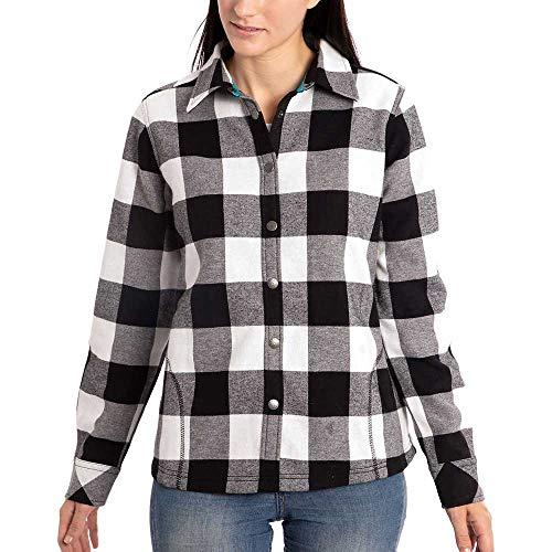 Orvis Womens Fleece Lined Flannel Shirt Jacket (Black/White Buffalo Check, Medium)