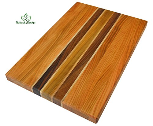 NaturalDesign Cutting Board 18 x 12 x 1.2 in Edge Grain Chopping Block Wood: Cherry Walnut Maple Hardwood Appetizer Serving Platter Durable & Resistant Maple Walnut