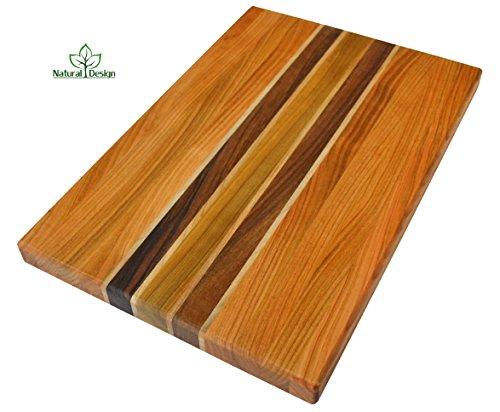 NaturalDesign Cutting Board 18 x 12 x 1.2 in Edge Grain Chopping Block Wood: Cherry Walnut Maple Hardwood Appetizer Serving Platter Durable & (Flat Grain Cutting Board)