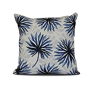 E by design Spike and Stamp Floral Print Pillow, 20 x 20, Blue