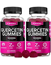 Quercetin Gummies with Zinc, Vitamin C, Elderberry 1000mg Immune Support Gummy Vitamin Supplements for Kids Adults, Quercitin Allergy Relief Immunity Booster Chewable Vegan Tablet Capsules (2 Pack)