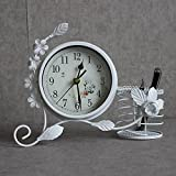 Bwlzsp 1 PCS Fashion creativity garden European style clock quiet room desk clock modern clock size pen and tube quartz watch LU709143 (Color : White)