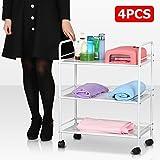go2buy 4pcs 3 Shelf Large Salon Beauty Trolley Cart Spa Storage Dentist Wax Treatments