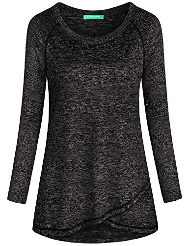 Kimmery Activewear Tops for Women, Black Vibrant Airy Breathable Long Sleeve Fitness Shirt Crew Neck Fast Dry Ladies Juniors Recreational Spring Fall Tunic Irregular Hem Travel Workout Clothing XXL
