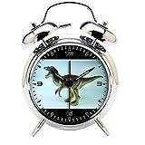 Children's Room Silver Dinosaur Silent Alarm Clock Twin Bell Mute Alarm Clock Quartz Analog Retro Bedside and Desk Clock with Nightlight-524.62_Dinosaur Tyrannosaurus Toy Animal Jurassic