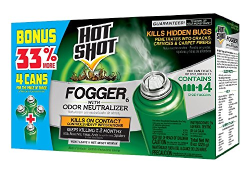 Hot Shot Indoor Fogger With Odor Neutralizer, 4/2-Ounce (Best Bed Bug Fogger)