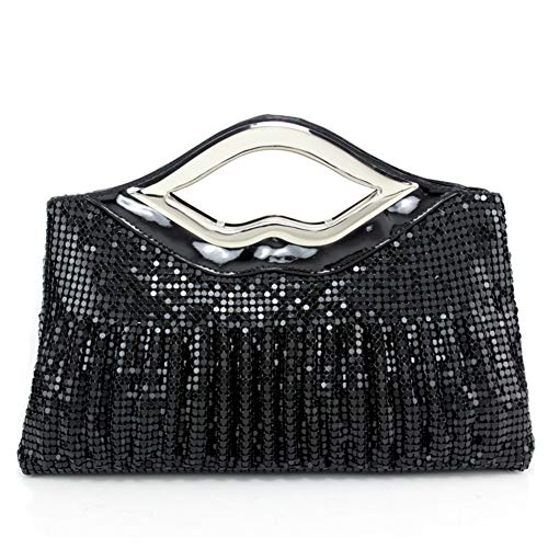 Aluminum Black Party Small Clutch Raise Wedding Prom Handbag Sequin Women Sheet For Evening Sparkling qxOIOXv