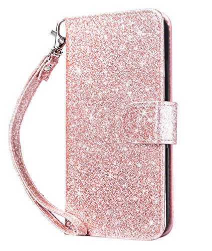 Ipod Touch Folio Case - Dailylux iPod Touch 6 Case,iPod Touch 5 Case,iPod Touch 7 Case,iPod Touch 5/6/7th Wallet Case Giltter PU Leather Stand Magnetic Clasp Card Holders Slot Shockproof Flip Cover -Sparkle Rose Gold