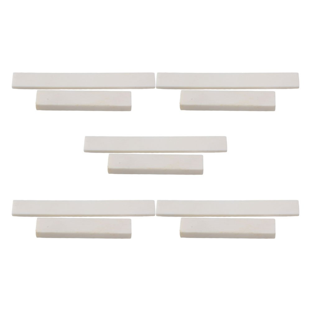 BQLZR White Blank Bone Nut and Bridge Saddle for Acoustic Guitar Classical Guitar DIY Accessories Pack of 5