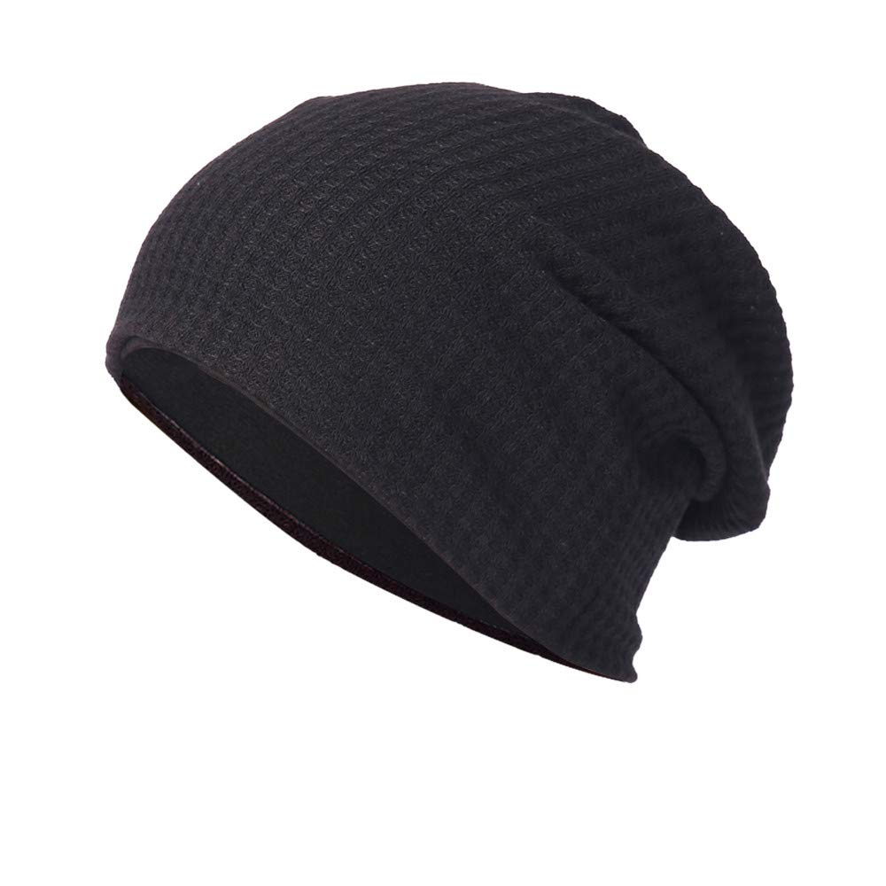 4clovers New Men レディース ニット帽 オープンコットンパイルハット 耳プロテクターキャップ Medium ブラック B07H169N6S