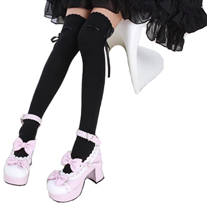 5c9f2bab9 SHEMILY Women s Thigh High Socks Over Knee Lolita Lace Up Gothic Thigh  Stocking WZ2 (Black