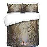iPrint 3Pcs Duvet Cover Set,Fantasy Art House Decor,Boy Looking Up Red Balloon Stuck on Tree Branch in Foggy Forest Picture,Brown,Best Bedding Gifts for Family/Friends