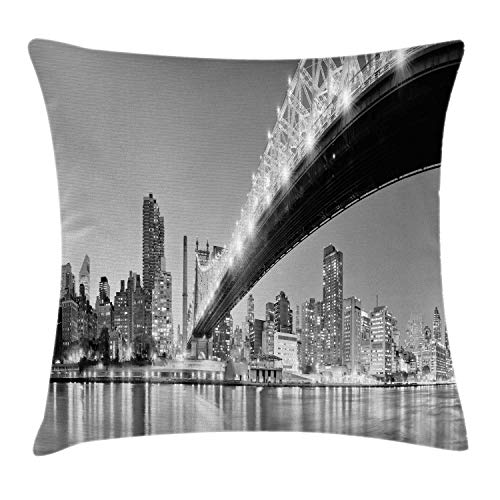 NBTJZT NYC Throw Pillow Cushion Cover, Queensboro Bridge Over East River at Night with Manhattan Skyline Black and White Photo,Pillowcase 18X18 Inch, -