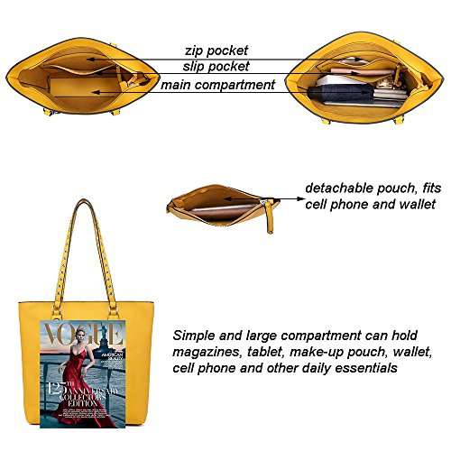 Tassels Handbag Purse Yellow Elegant Large Women Wallets Tote Shoulder Set Chic Classic Hobo Bag Medium OXqndaw