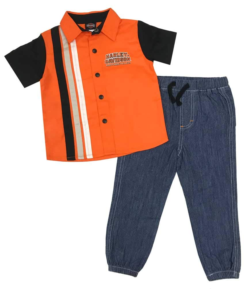 Harley-Davidson Little Boys' Shop Shirt & Denim Pant 2-Piece Toddler Set (4T) Orange