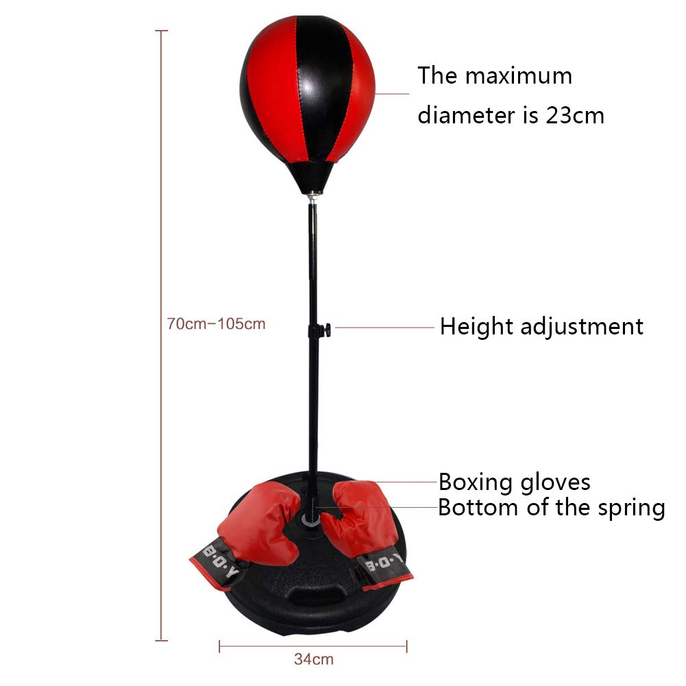 Boxing Gloves Top Gifting Idea for Boys and Girls Ages 4-12 Years Old Hand Pump GuanDongQi Boxing Set with Punching Ball Easy Setup /& Portable Design Height Adjustable Base