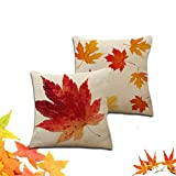Throw Pillow Covers Maple Leaves,Decorative Autumn Leaves Pillow Cases Cushion cover for Home Sofa Bedding 18x18 inches (No Pillow Insert)