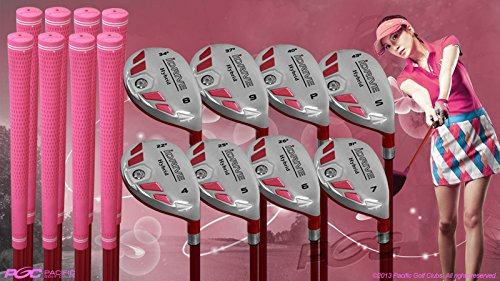 Women's iDrive Golf Clubs All Ladies Pink Hybrid Complete Full Set which Includes: #4, 5, 6, 7, 8, 9, PW +SW Lady Flex Right Handed New Utility L Flex Club