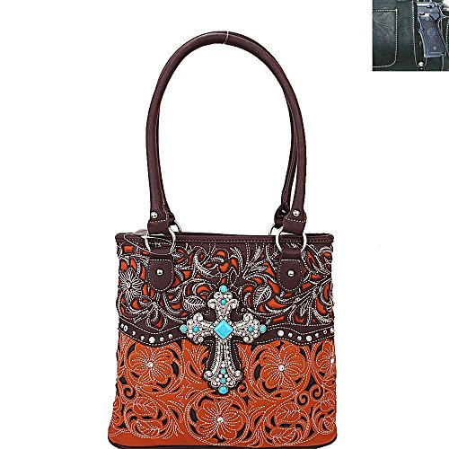 Large Rhinestone Concho Concealed Carry Tote Bag in 4 Colros. New with (New Western Rhinestone Concho)
