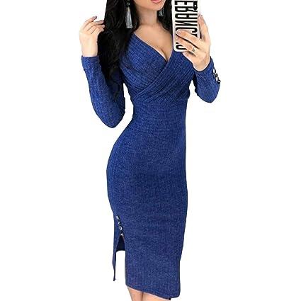 4e207b90ec1b FidgetGear Women Long Sleeve Deep V Neck Bodycon Dress Clubwear Blue M   Amazon.in  Home   Kitchen