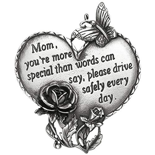 Travel Safely Pewter Heart Visor Clip in Multiple Saying Options with Butterfly and Flower Accents, Mom, Mom