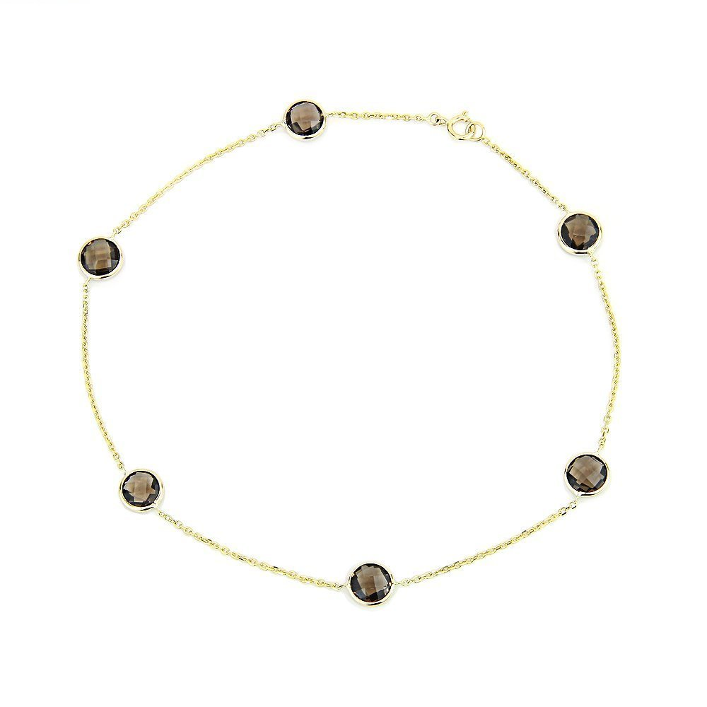 14k Yellow Gold Anklet Bracelet With 6mm Fancy Cut Round Smoky Quartz Gemstones 9 - 11 Inches