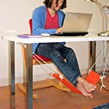 Foot Rest - Leegoal Portable Office Feet Rest, Under Desk Foot Hammock with Adjustable Durable Strap for Office, Library, Airplane Traveling Etc.(Orange)