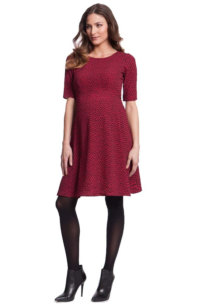 Seraphine Florette Fit And Flare Maternity Dress - Pink Dot - 12