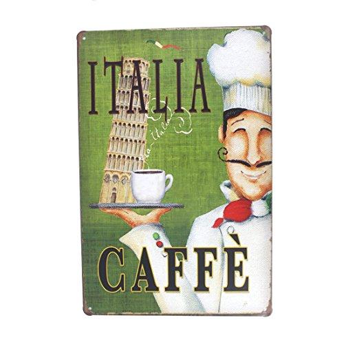 12x8 Inches Pub,bar,home Wall Decor Souvenir Hanging Metal Tin Sign Plate Plaque (ITALIA CAFFE)