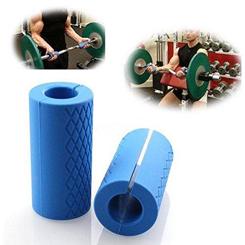 Majome 1paire Coque en silicone Barbell Grips Home Gym Bras Wrap Barre d'haltères prise en main