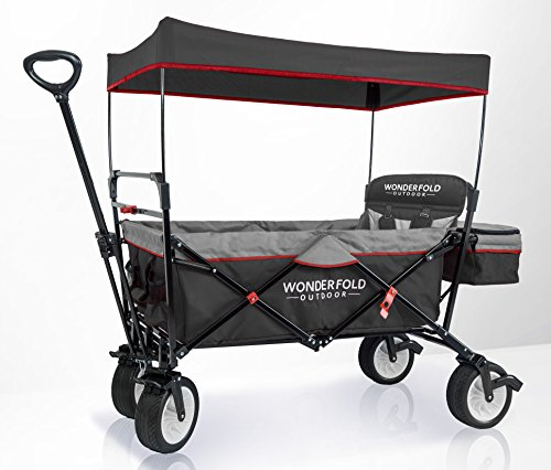 WonderFold Outdoor Premium Multi-Purpose Collapsible Folding Wagon With Canopy, Active Steering Handle, Wide EVA Tires, One Pedal Brakes, Sturdy Stand (Wagon & 1 Seat, Black/Grey)