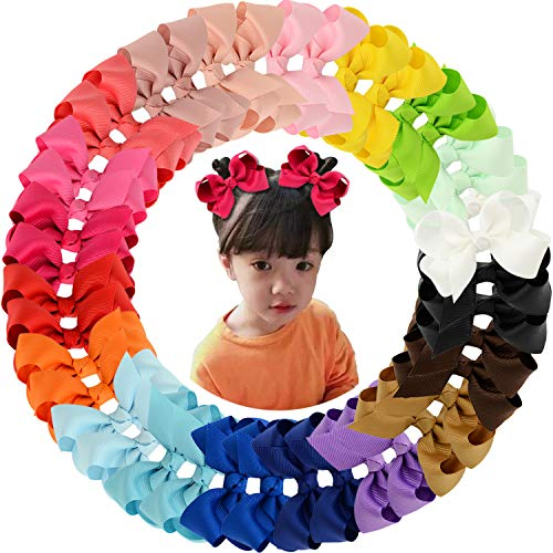 40pcs 3'' Grosgrain Ribbon Hair Bow Alligator Clips Hair Accessories for Baby Girls Infants Toddler Teens Kids 20 Colors in Pairs by WillingTee
