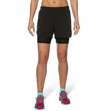 Asics Fujitrail 2 In 1 Womens Running Shorts Purple Bekleidung