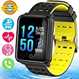 Smart Watch IP68 Waterproof Fitness Activity Tracker for Men Women with Heart Rate Blood Pressure Sleep Monitor Pedometer Wearable Bracelet Wristband for Summer Sport Outdoor Travel Running (Yellow)