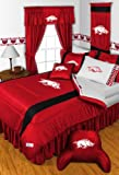 Arkansas Razorbacks NCAA 8 Pc FULL Size Comforter Set and One Matching Window Valance/Drape Set (Comforter, 1 Flat Sheet, 1 Fitted Sheet, 2 Pillow Cases, 2 Shams, 1 Bedskirt, 1 Matching Window Valance/Drape Set) SAVE BIG ON BUNDLING!