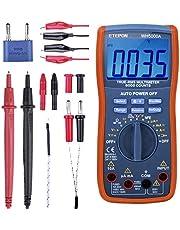Multimetr cyfrowy, ETEPON True RMS6000 zalicza multimetry ręczne i automatyczne zakresy, mierzy napięcie, prąd, opór, ciągłość, pojemność, częstotliwość, test diod, tranzystory, temperatura WH5000 A
