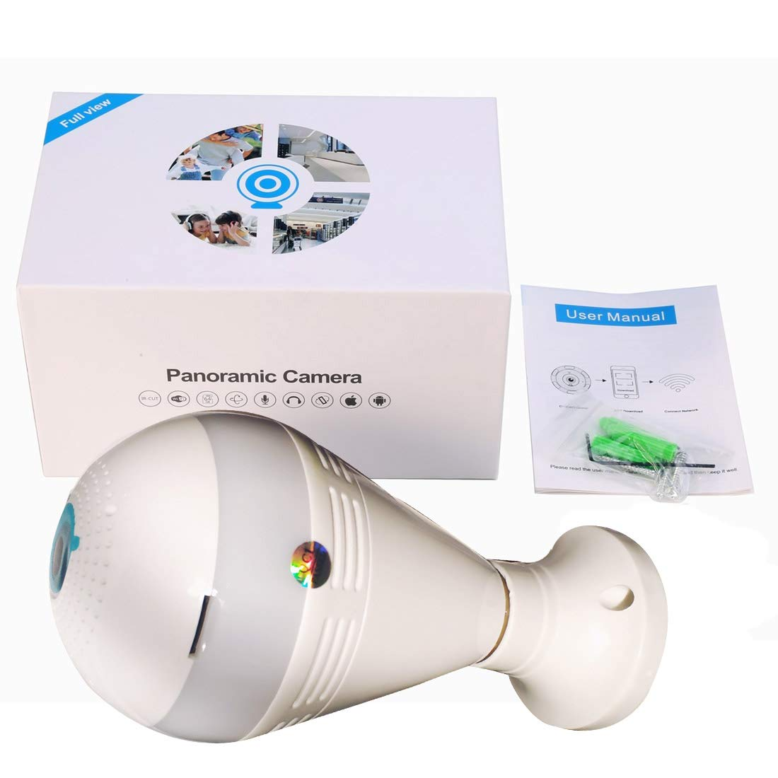 Wireless Hidden Light Bulb Camera 360 Degree Panoramic Led WiFi Fish Eye Security IP Micro Cam Light Night Vision Motion Detection Baby Pet Surveillance mliyam 860983