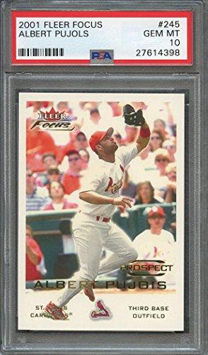(2001 fleer focus #245 ALBERT PUJOLS st louis cardinals rookie card PSA 10 Graded Card)