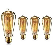Juneslife Vintage Filament Incandescent ST58 110V 40W Decorative Light Bulbs E27 for Patio Backyard Garden Wedding Pack of 4-Tear Drop Pattern
