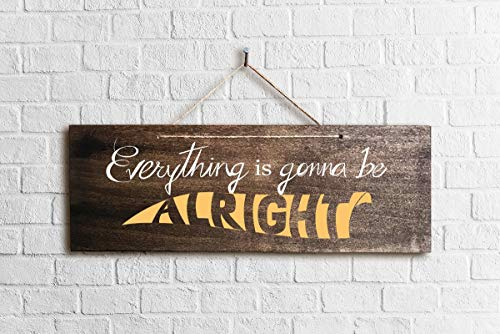 Burkewrusk Rustic Wood Sign Everything is Gonna Be Alright 16 x 55 cm Folk Art Wall Decor Rustic Wood Sign