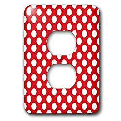 3dRose Lsp_78196_6 Large White Polka Dots on a Red Background 2 Plug Outlet Cover
