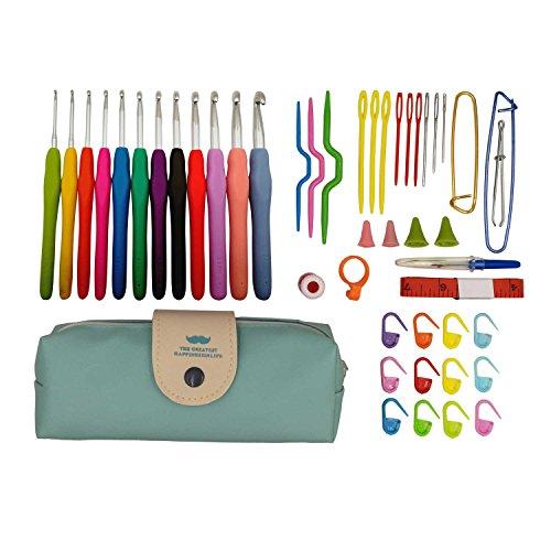 Crochet Hooks Set 48 Pack Ergonomic Soft Handles Aluminum Blunt Needles Knitting Needle (Soft Ergonomic Handles)