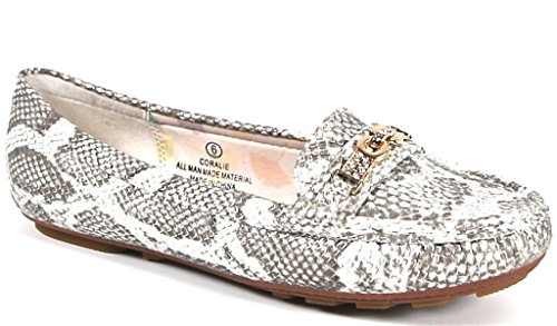 Fashion All-Vegan Pewter Snake Flats