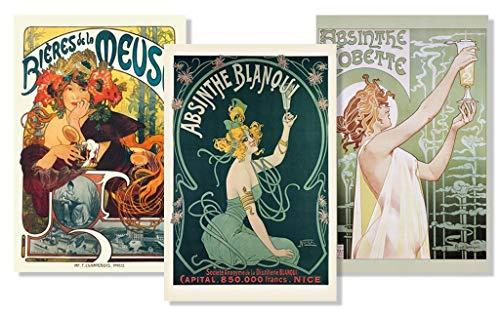 (Set of 3 Art Nouveau Absinthe Biere Liquor Drinking Collection Vintage Ad Posters Set Bundle 24x36 inch)